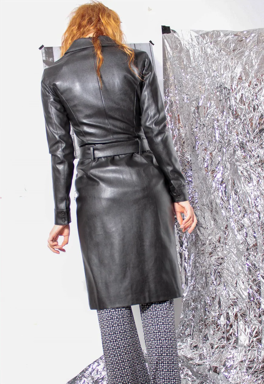 90s grunge y2k gothic faux leather pvc trech coat jacket #90sgrunge