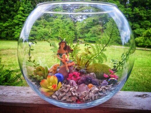Small Fairy Garden In A Fish Bowl Fairy Garden Containers Fairy