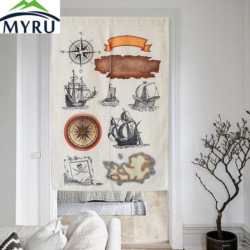 MYRU The Age of Sail Creative Cotton Door Curtain Cartoon Feng Shui