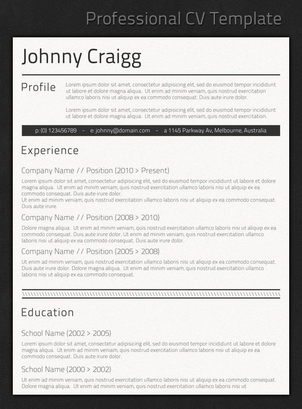 Professional Resume Templates For Design | Best Professional
