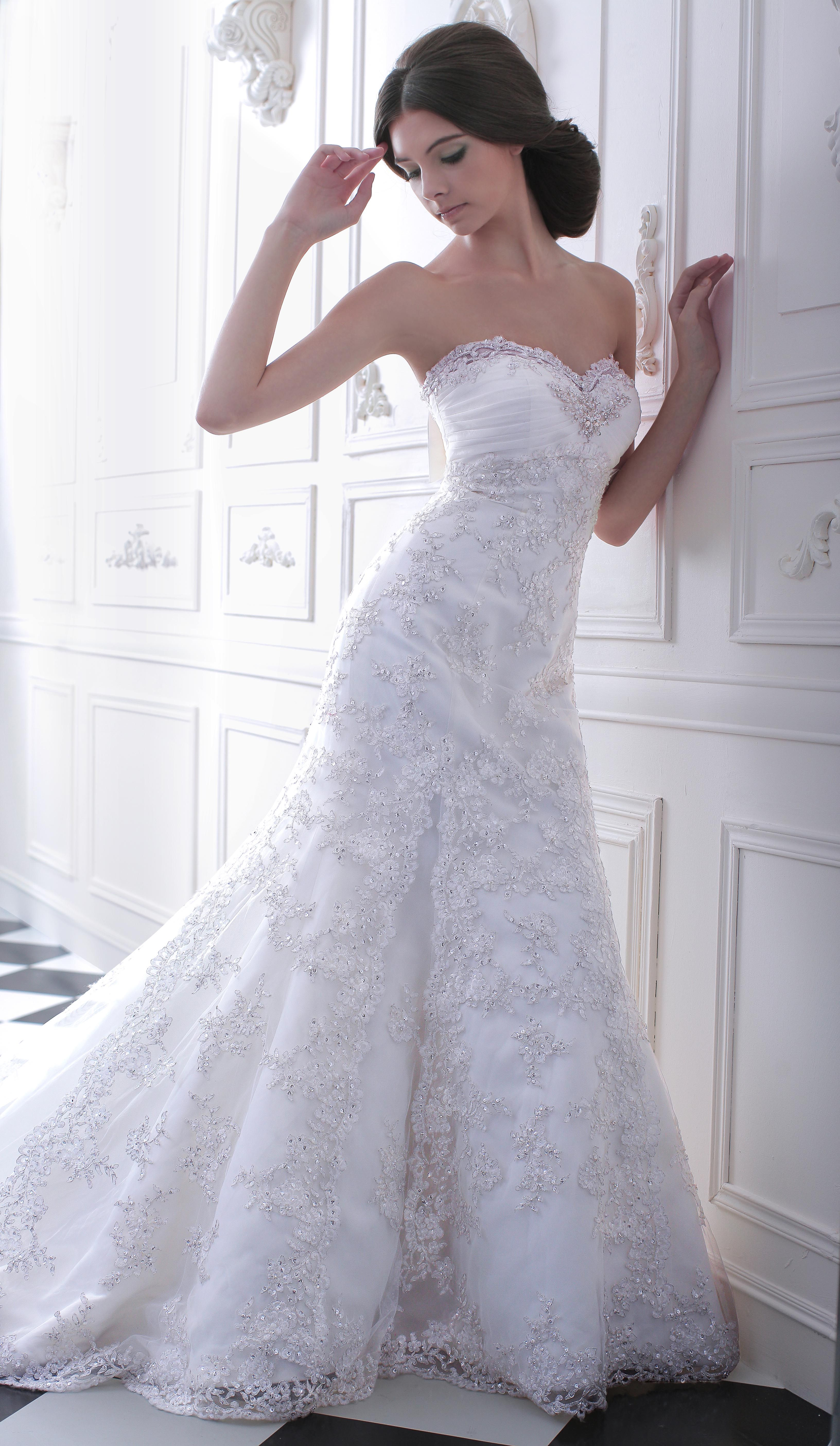 White beaded mermaid gown with sweetheart neckline | Volans Couture ...
