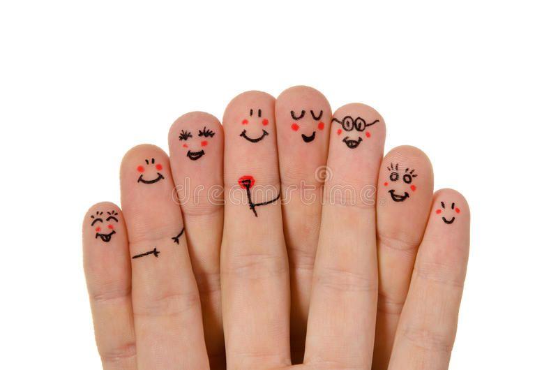 Happy group of finger smileys On white background
