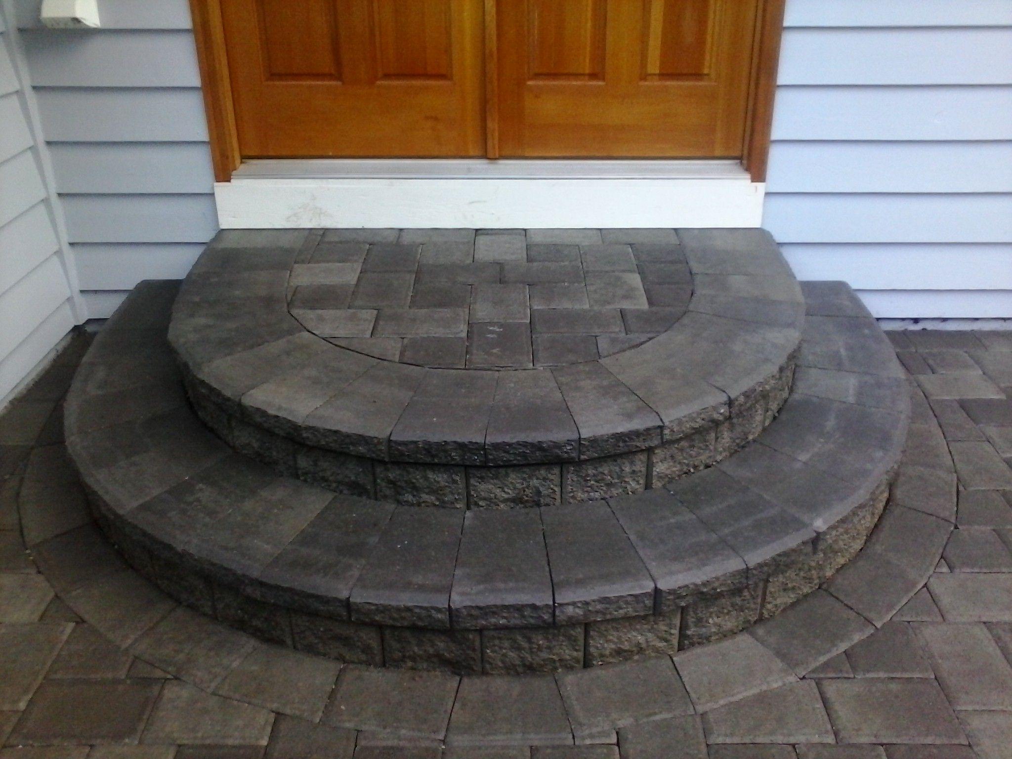 Pin By Sdp Seattle Driveway Patio On Interlocking Paver Patios | Half Moon Wood Steps | Wooden | Hexagon | Diy | Outside Corner Deck | Exterior
