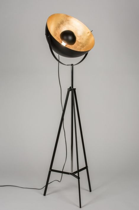 vloerlamp 72238 retro industrie look zwart metaal rond. Black Bedroom Furniture Sets. Home Design Ideas