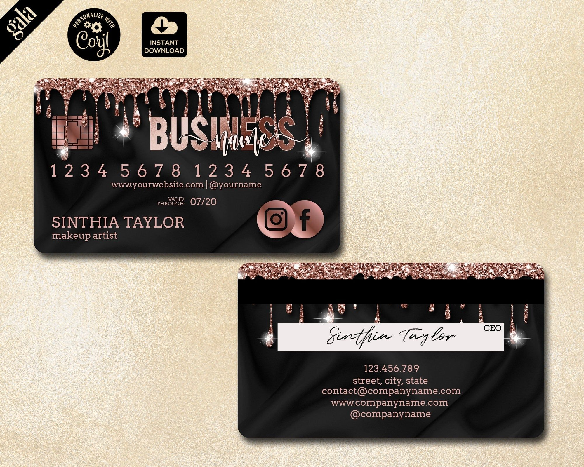 Credit Card Business Card Template Dripping Gold Credit Card Etsy Salon Business Cards Beauty Salon Business Cards Makeup Artist Business Cards