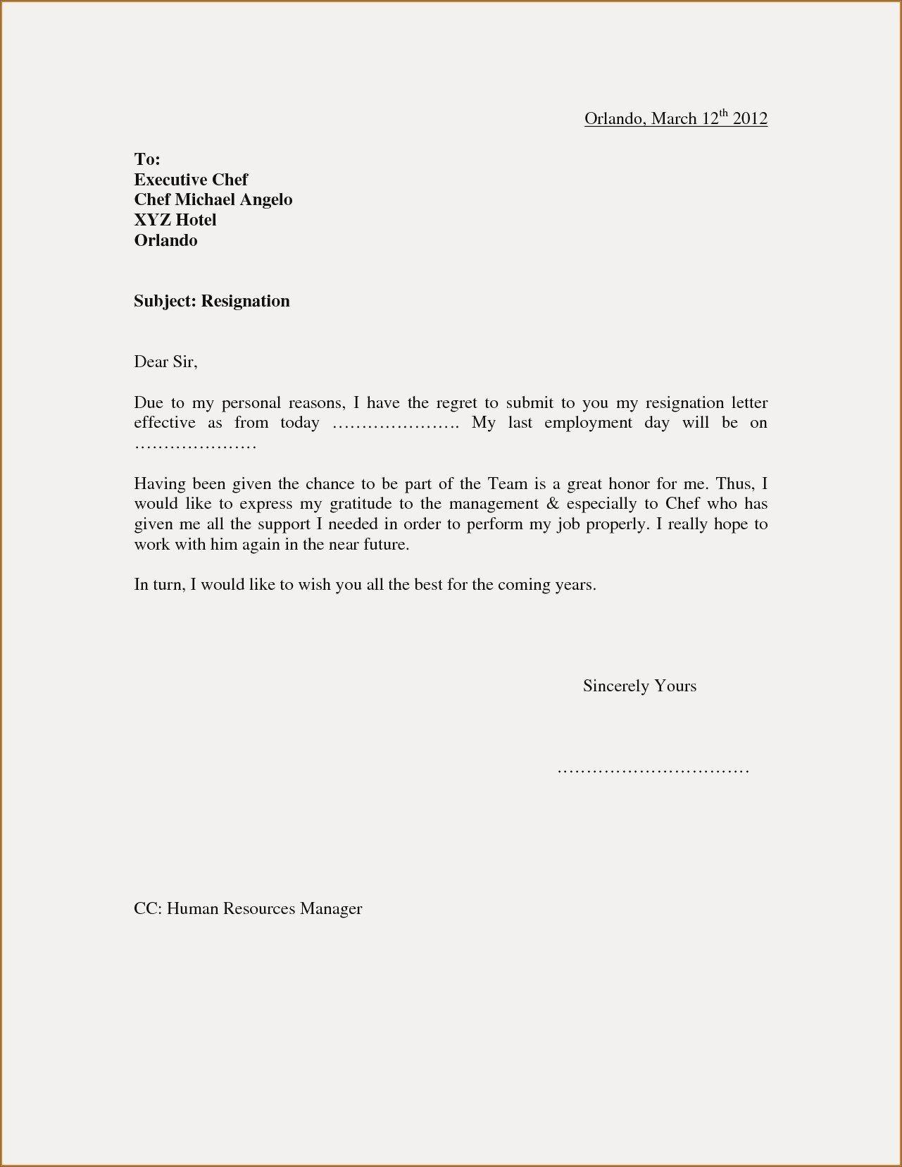 View 21+] Resignation Letter Sample For Hotel Job