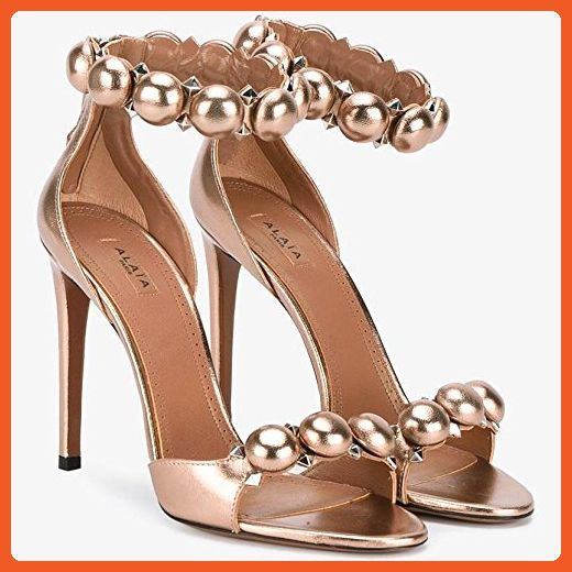 8625eb24bc740 ALAIA Bombe Rose Gold Bronze Metallic Embellished Sandals Shoes ...