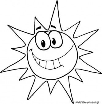 Printable Cartoon Character Smiling Sun Coloring Pages Printable