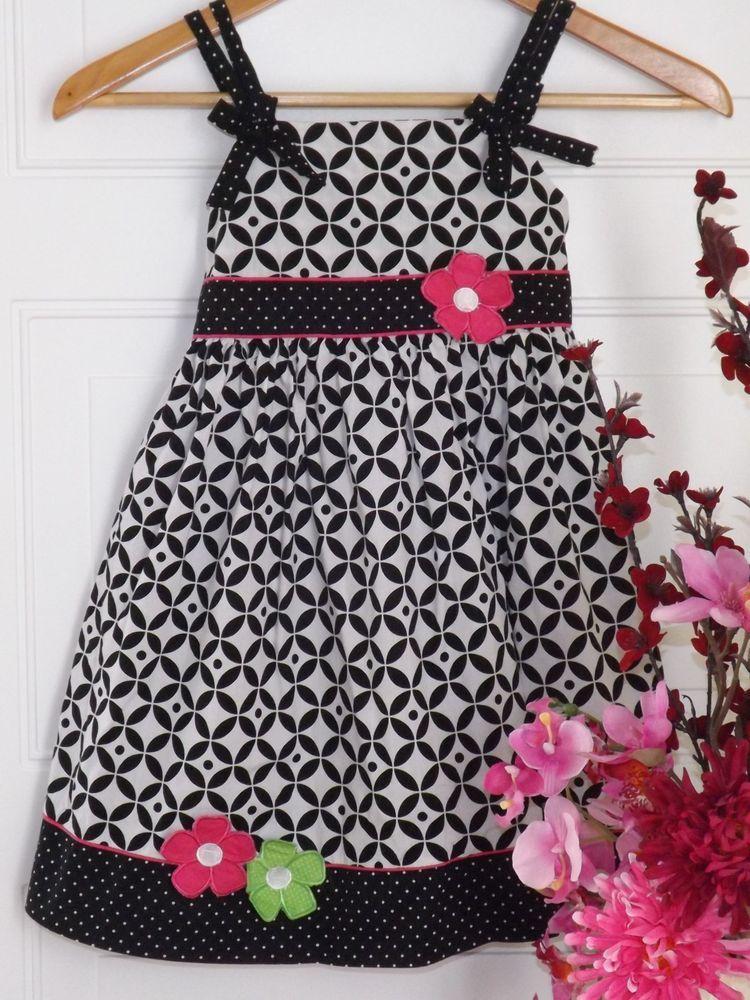 Girls,Blueberi Boulevard Black&White dress w/pink trim&flower designs Sz.6  #BlueberiBoulevard#Valentinesday#Birthday#Birthdaydresses#girlsdresses$7.85