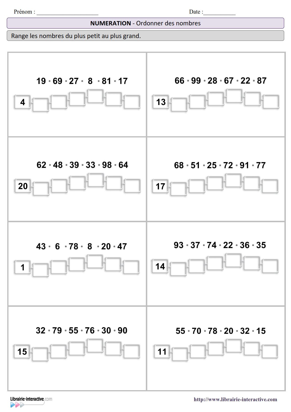 3 fiches avec des s ries de nombres ordonner pour le cp et le ce1 du plus petit au plus grand - Calcul nombre de parpaing ...