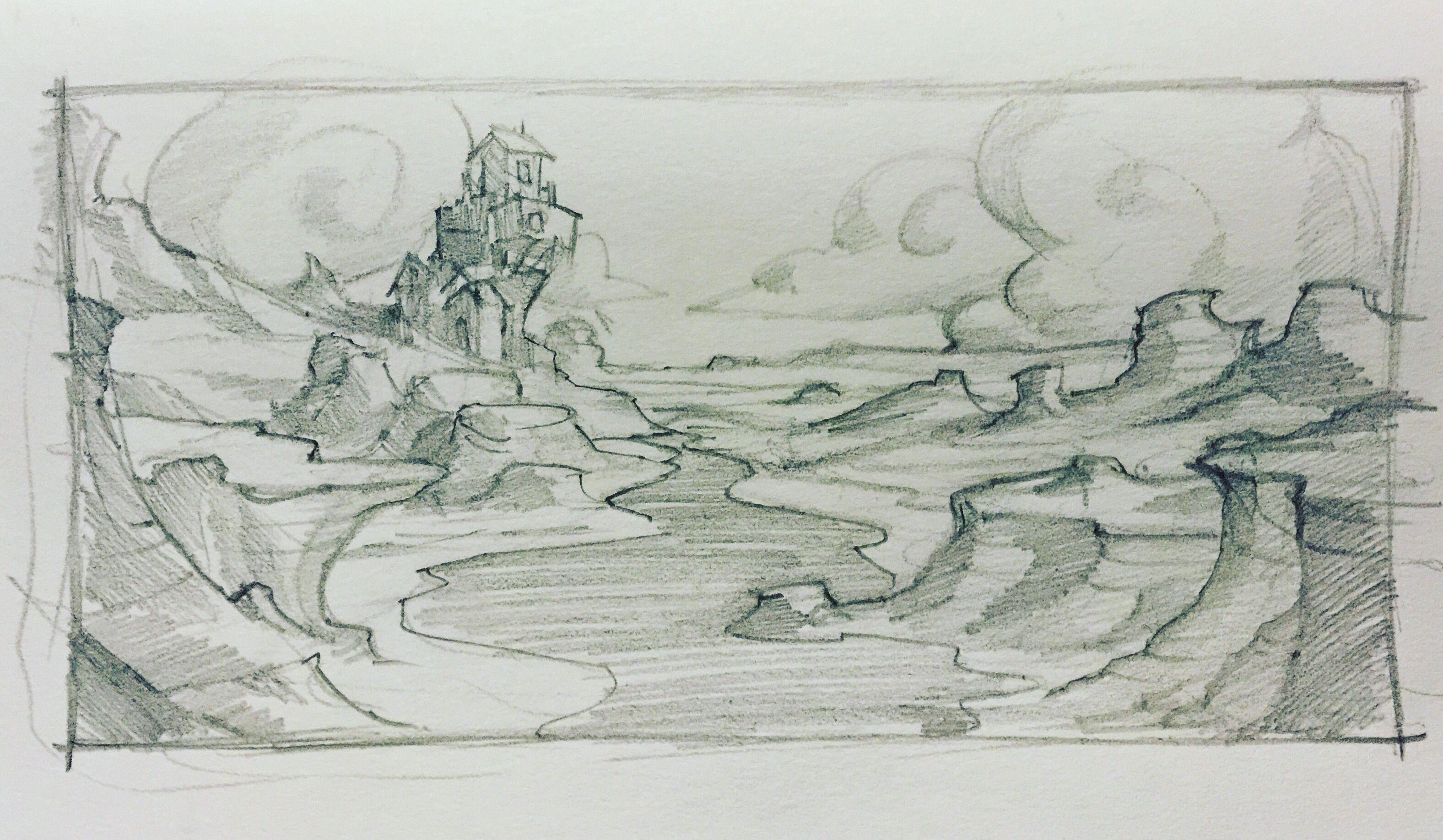 2 cartoon animated background landscape scene pencil sketch drawing clouds fort base mikephillipsart