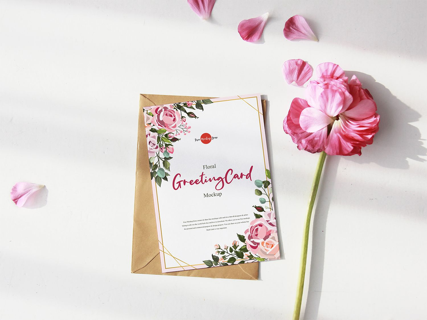 Free Greeting Card Mockup With Pink Flower Psd Free Mockup Free Greeting Cards Mockup Free Psd Free Mockup