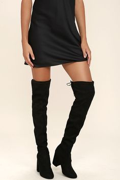 00c480a80dd Steve Madden Norri Black Suede Over the Knee Boots in 2019