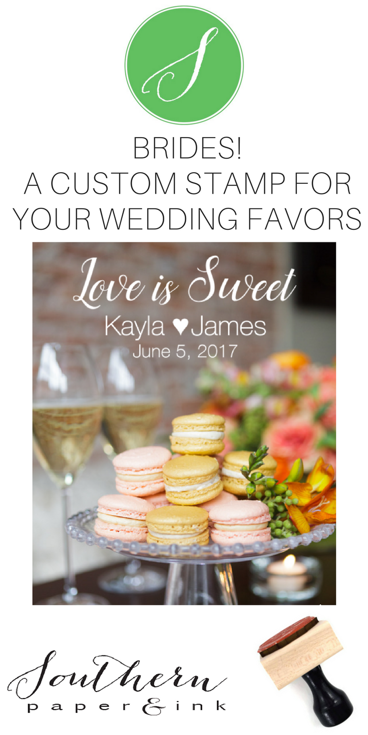 A custom wedding favor stamp is the perfect way to personalize your special day. You can use your LOVE IS SWEET stamp with your wedding details as the finishing touch to your favors or gifts. Shop Southern Paper and Ink on Etsy.