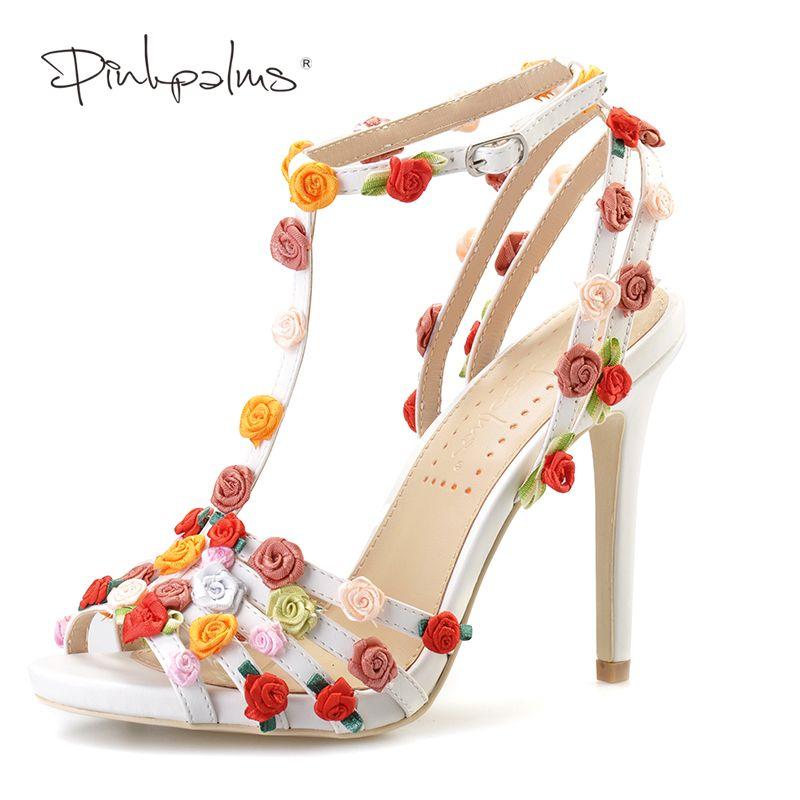 cd6ccdb12 Barato Rosa Palmas mulheres verão sandálias sapatos de salto alto florais  feitos sob encomenda handmade flores