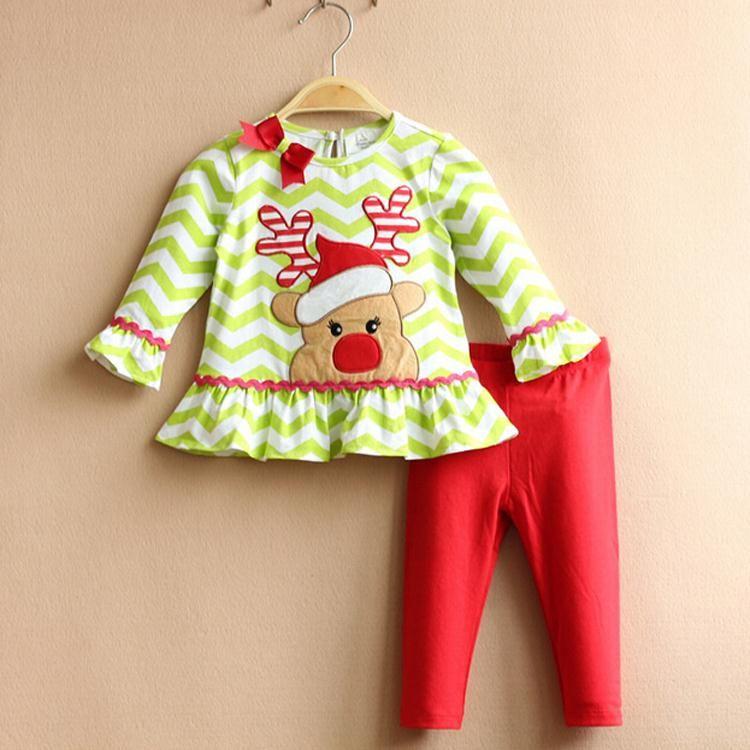 b9e0f9da0 Los niños ropa de navidad niños cervatillo lindo modelo t rayado shirt +  pants ropa conjuntos de ropa para niñas sistema del bebé conjunto infantil  ...