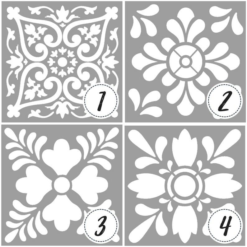 Template Or Stencil With Tile Designs And Mandalas Tile Stencil