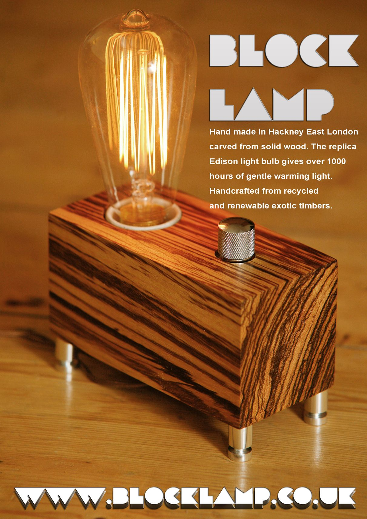 A wooden lamp designed for retro EDISON light bulbs.The lamp is ...