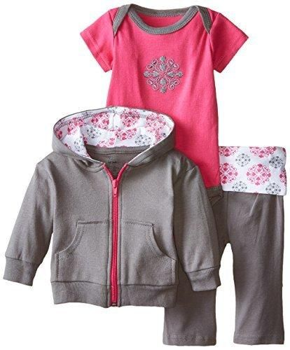Yoga Sprout Baby-Girls 3 Piece Hoodie Bodysuit and Pant Set Pink Medallion 6-9 Months
