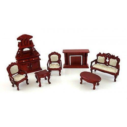 Superior Dolls House Miniature 1:24 Scale Victorian Salon Living Room Furniture Set Part 2
