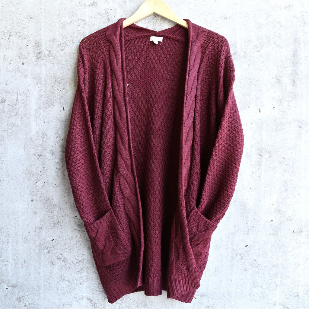 Alisha Cable Knit Open Cardigan Burgundy Clothes Open