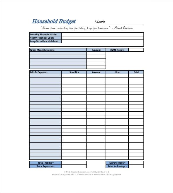basic household budget template , 10+ Household Budget Template ...
