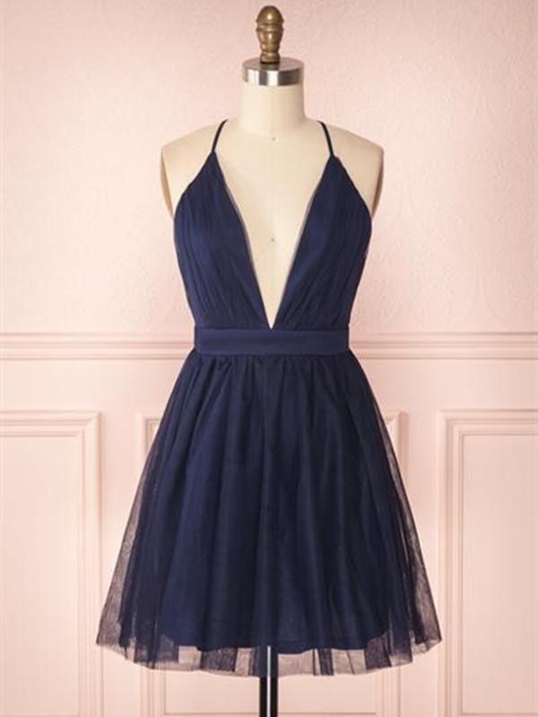 A Line V Neck Navy Blue Short Prom Dresses, Navy Blue Homecoming Dresses