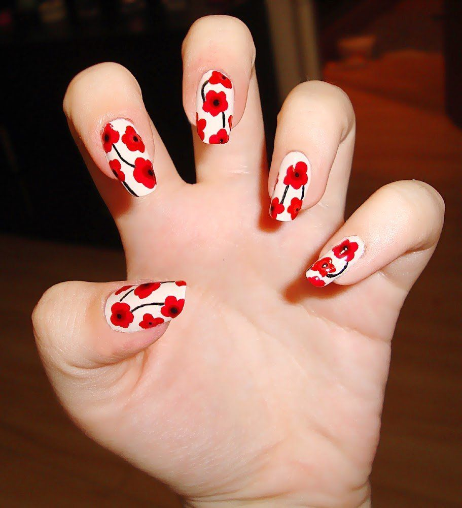 Red Flower Nail Art Design Ideas Red Flower Nail Art Gallery