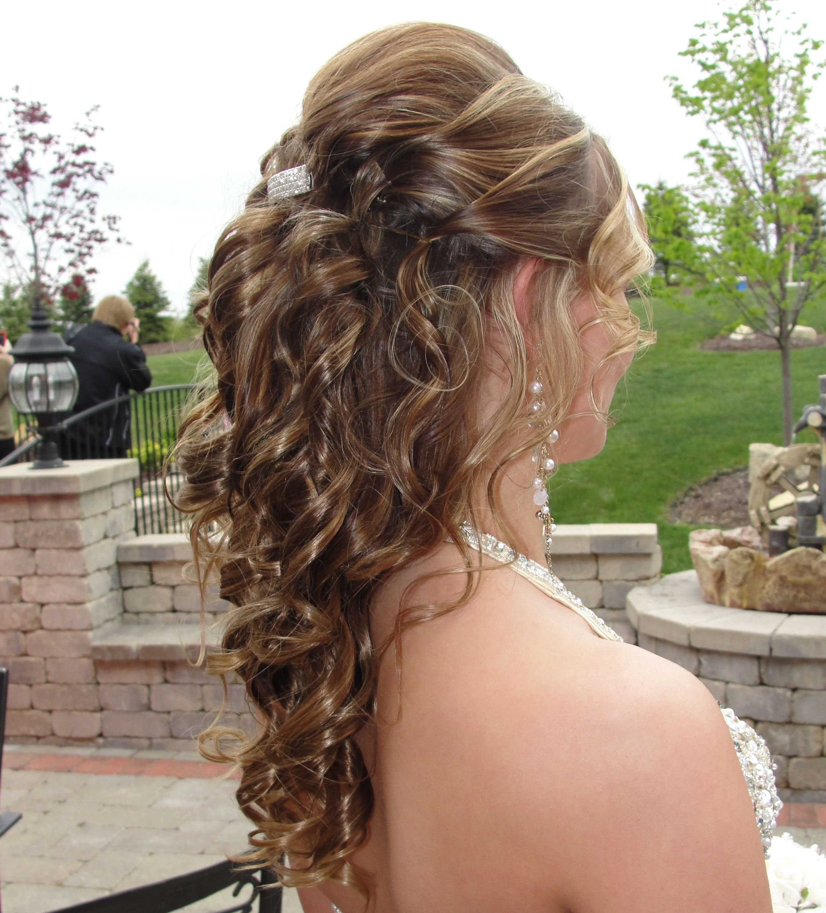 Half up half down long hair updo stylist jeanette at salon