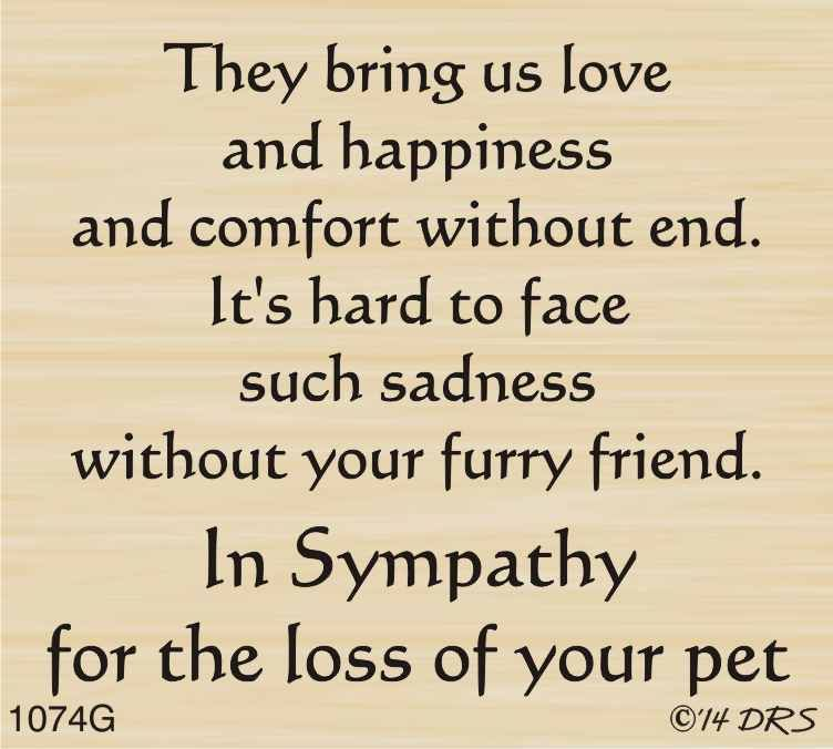 Furry Friend Sympathy Greeting - 1074G Cards, Card sentiments - sample condolence message