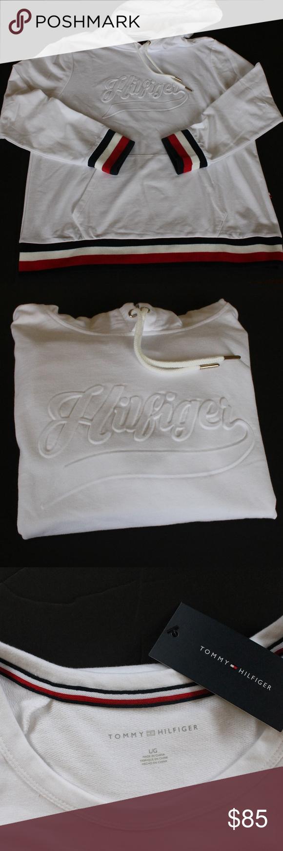 Tommy Hilfiger White Embossed Logo Hoodie NWT