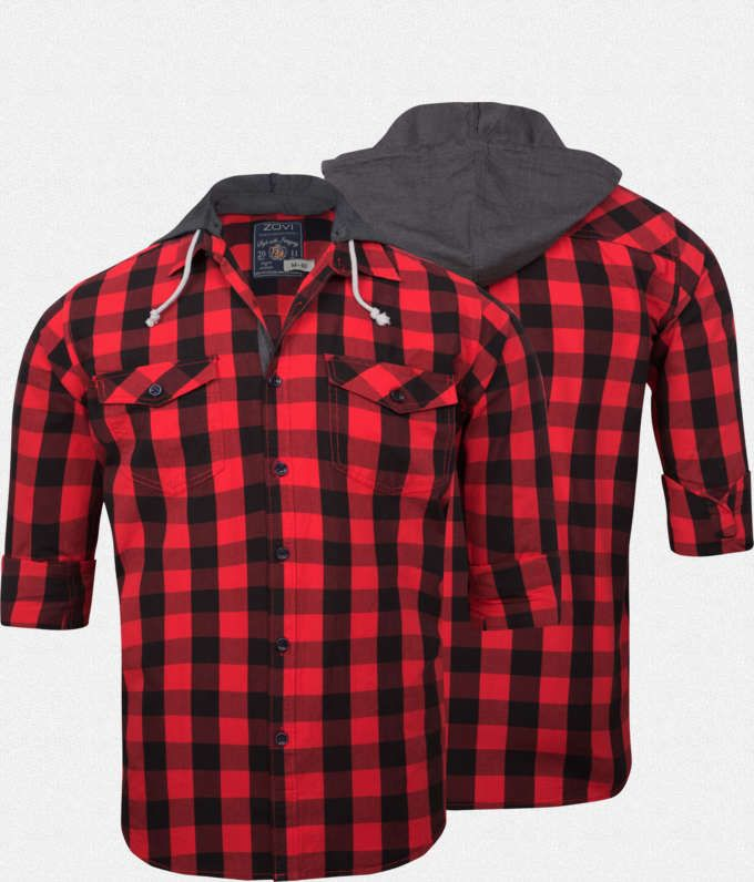 Zovi Slim Fit Red And Black Checkered Casual Shirt With Hood ...