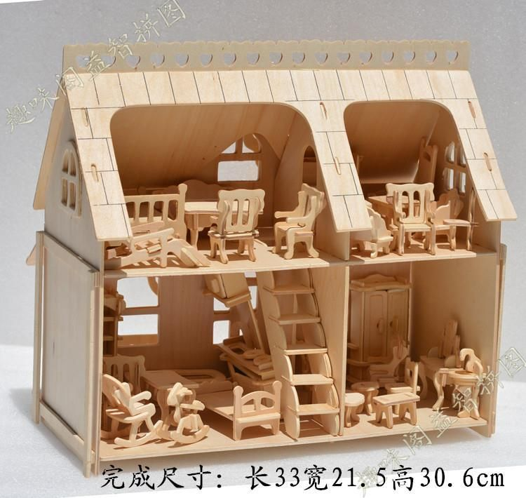 Beautiful Wooden Furniture Model Dolls House 1:24 Scale DIY Wooden Dolls House  Handcraft 3D Miniature Kits U0026 All Furnitures Model+Picture
