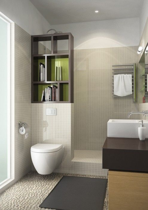 Clever idea creating a shower-cove with the bookshelf .. as long as the books don't get soggy, aye?