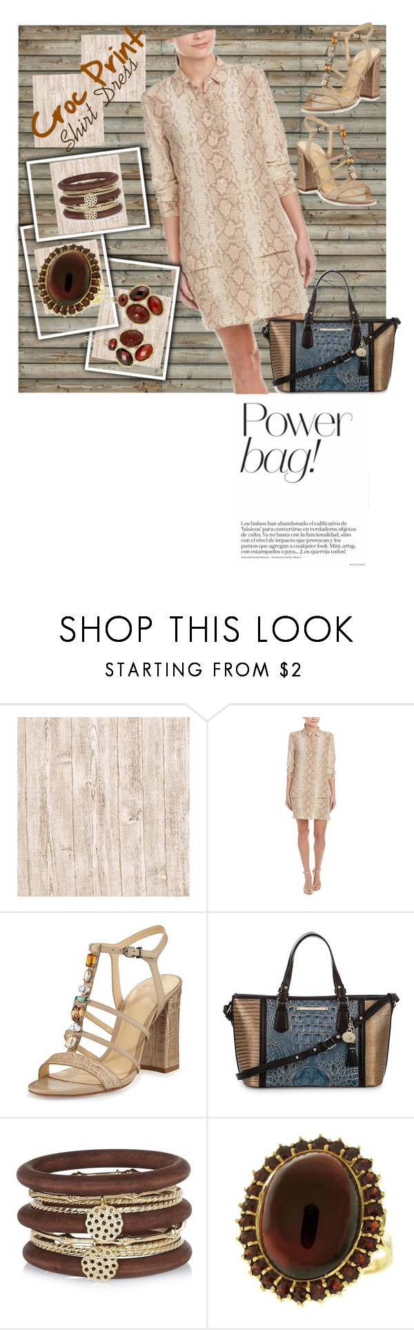 """Croc Print Shirt Dress"" by mdfletch ❤ liked on Polyvore featuring Mr Perswall, Equipment, Alexandre Birman, Brahmin, River Island, The Sak and shirtdress"