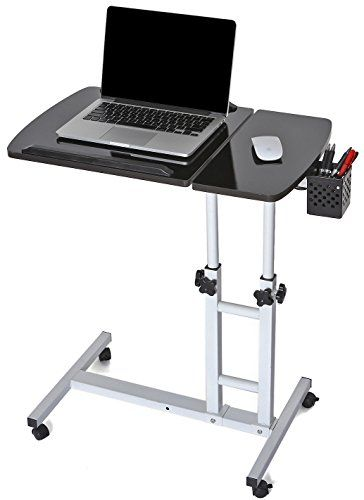 Cahomedecor Height Adjustable Office Desk Rolling Laptop Desk Cart Over Bed Hospital Table S Height Adjustable Office Desk Best Home Office Desk Hospital Table