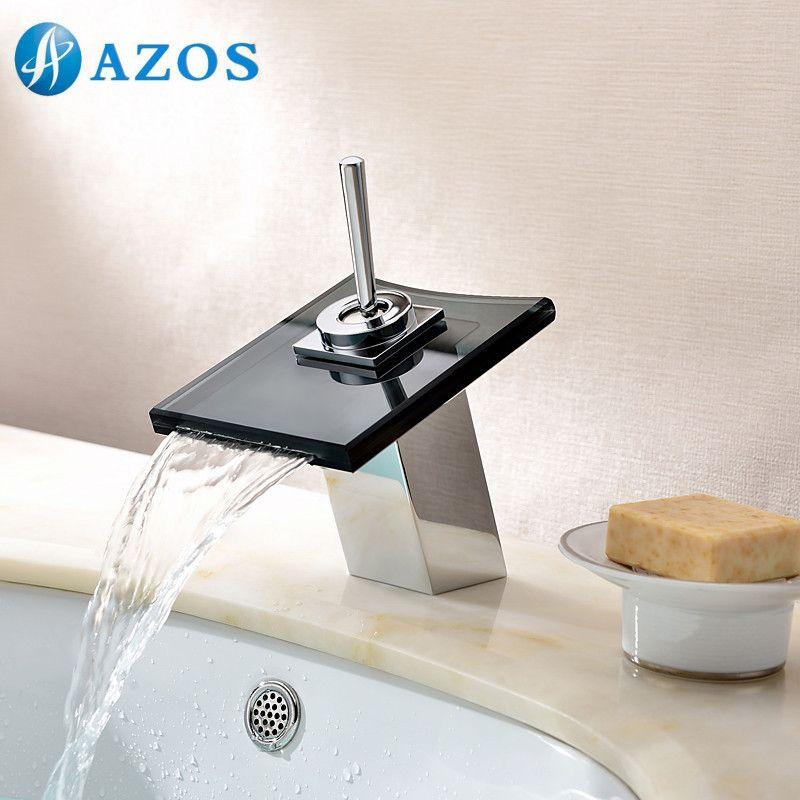 Bathroom Basin Faucets Chrome Polish Black Glass Waterfall Spout