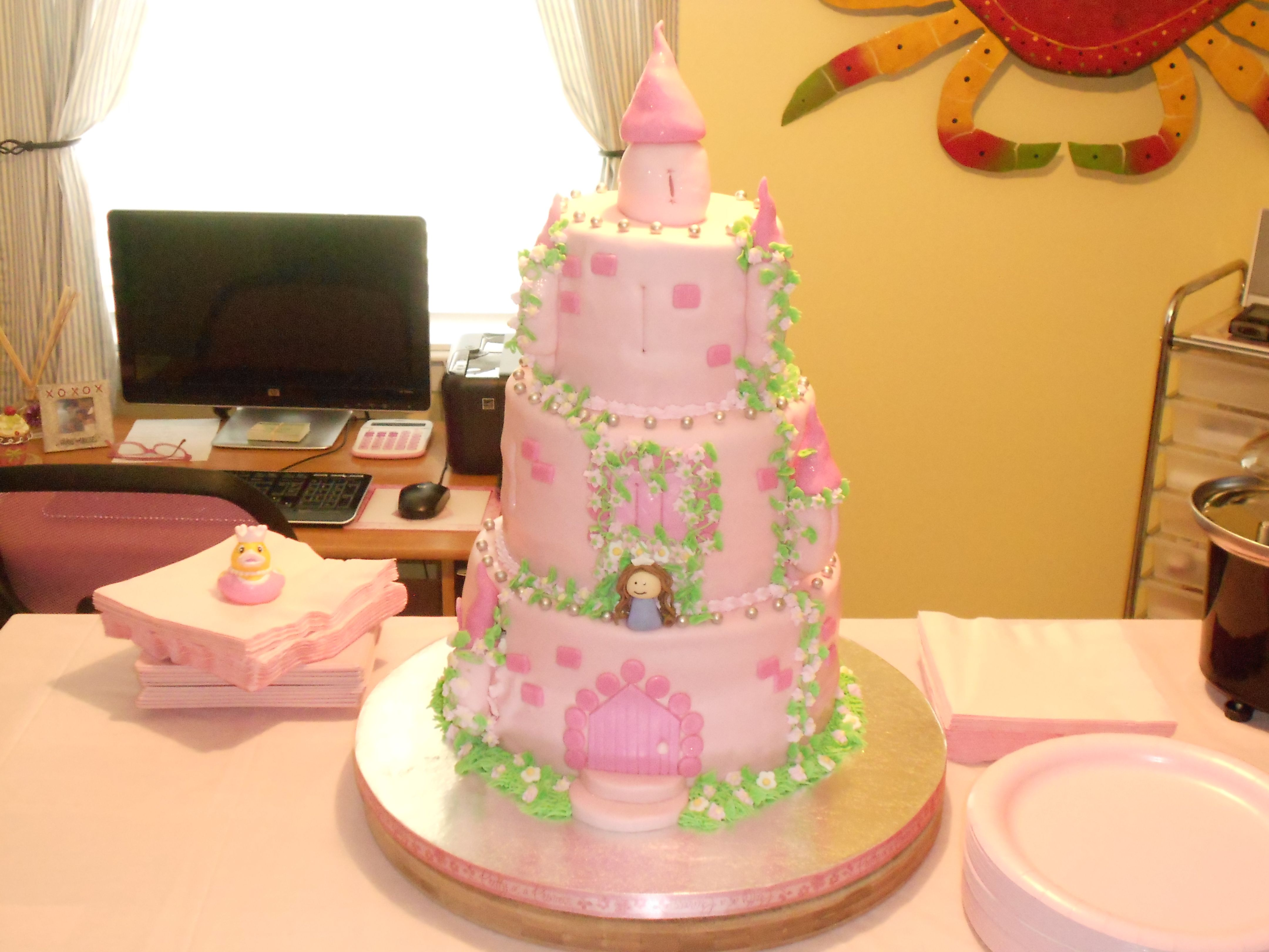 Castle baby shower cake