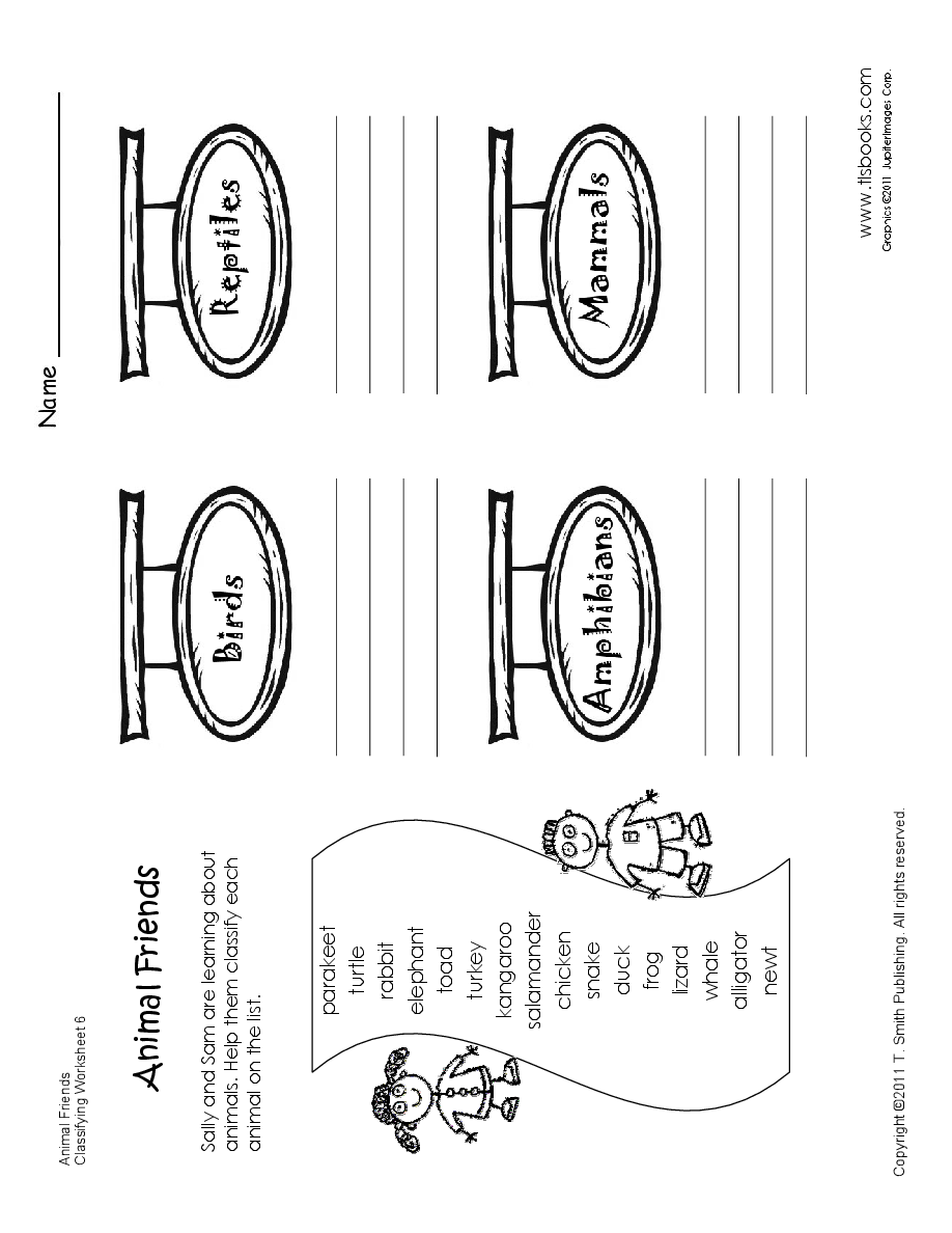 Classifying Animals Worksheet for First-Second Grade...my kids start ...