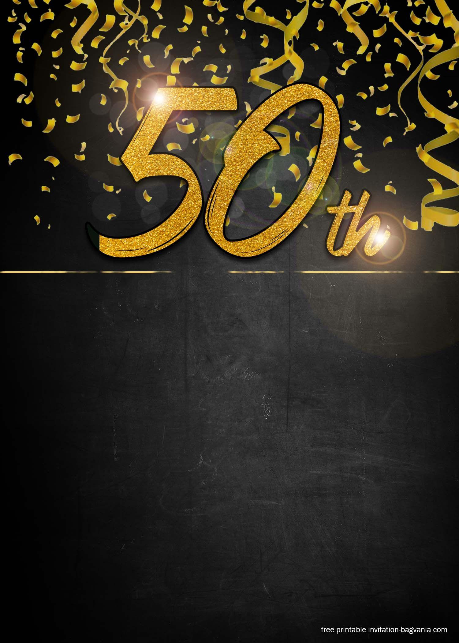 FREE 50th Golden Invitation Templates for Men Printable