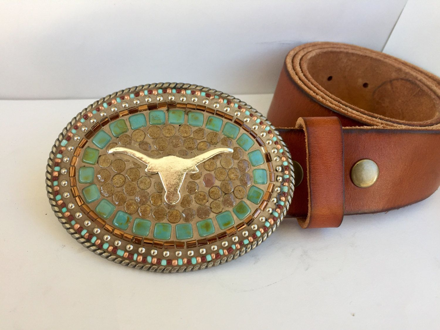 Ariat Western Womens Belt Leather Embossed Inlay Studded Brown A1513802
