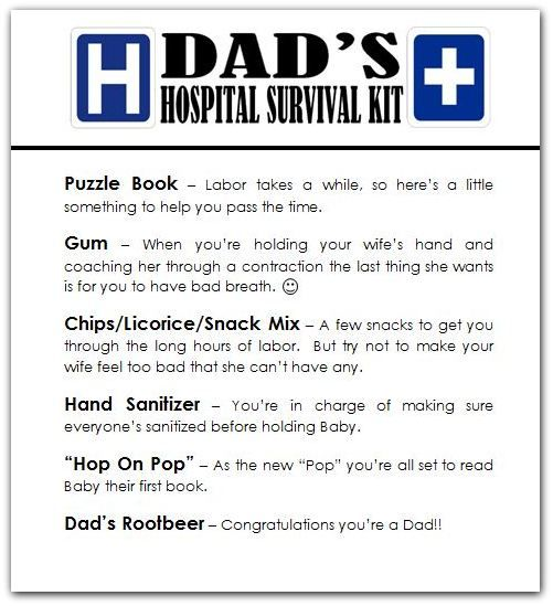 Hospital Survival Kit Gift For New Moms And Dads Dad