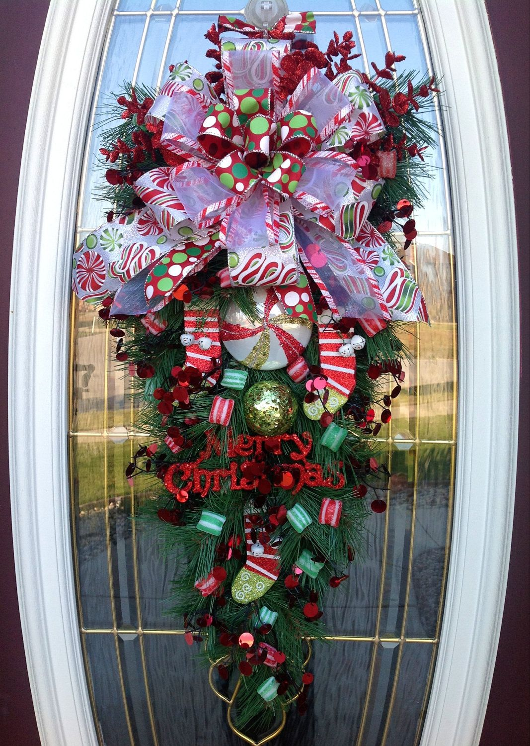 Big front doors teardrop wreath christmas wreath door for Christmas swags and garlands to make