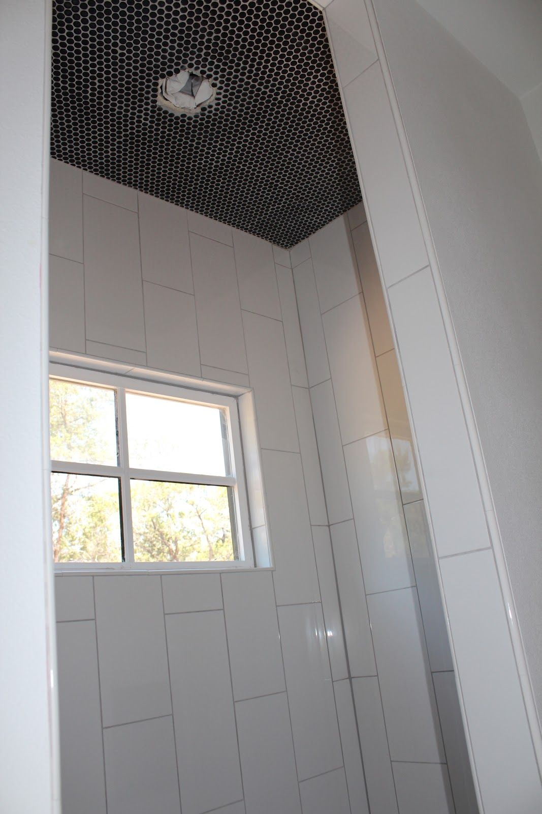 Jvw Home Project Updates Small Bathroom Remodel Designs White Tile Shower Vertical Shower Tile