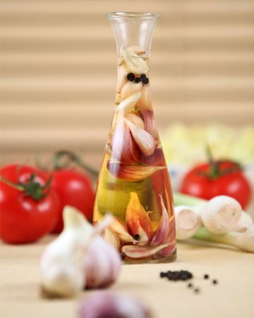 Vinegar infused with garlic. Make this at home for a more personal gift.