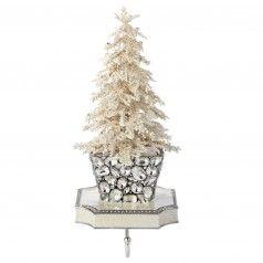 Flocked Crystal Tree Stocking Holder   Gracious Style