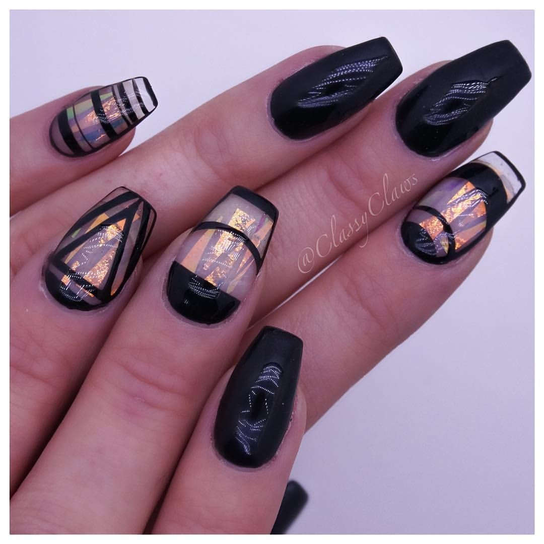 Black, matte, hologram Mylar strips, negative space  Classy claws