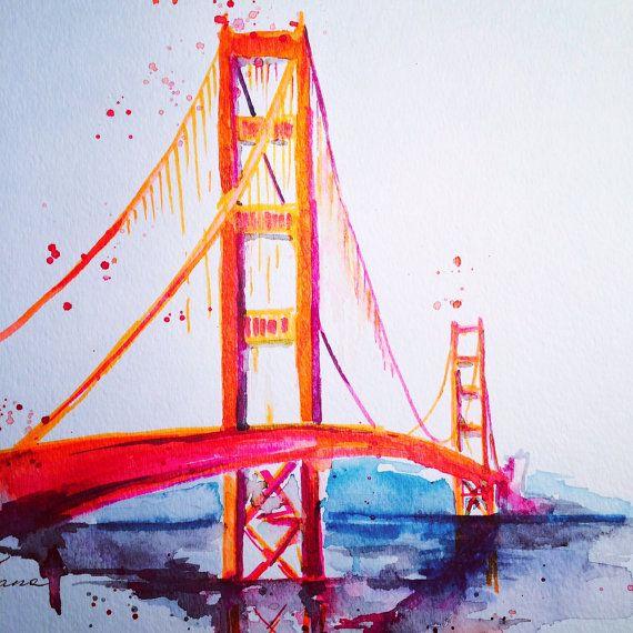 San Francisco Golden Gate Bridge Travel Watercolor