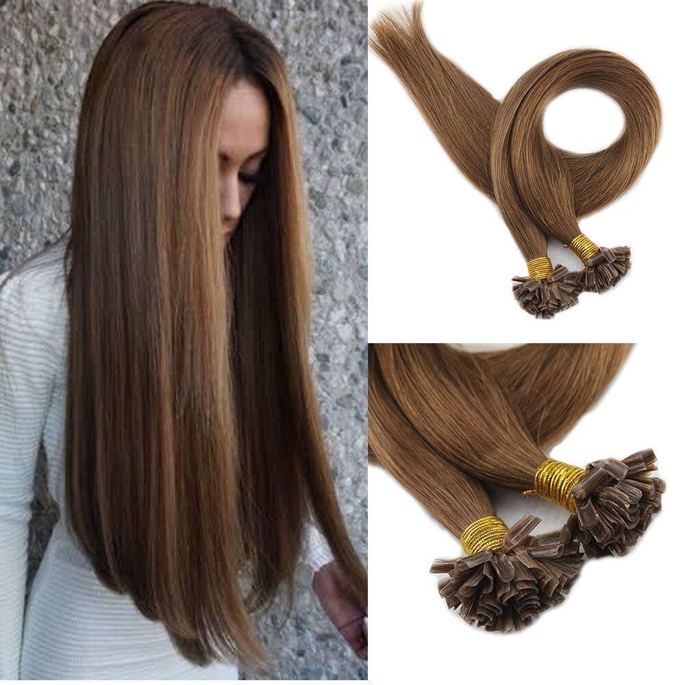 U Tip Real Human Hair Extension Color 6 Medium Brown Nail Tip Human