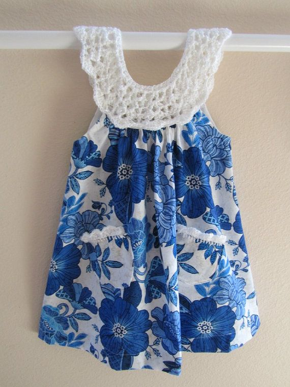 Girls dress in blue print with white crochet bodice on Etsy, $35.00 ...